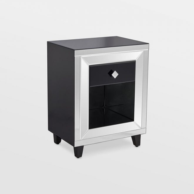 details about black mirrored bedside table with drawer bedroom side cabinet stylish storage