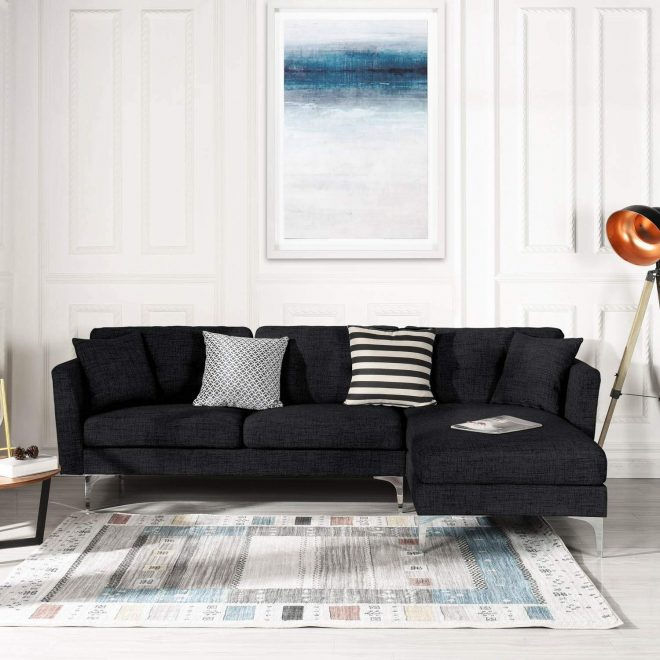 details about black upholstered linen sectional sofa couch modern l shape sectional couch