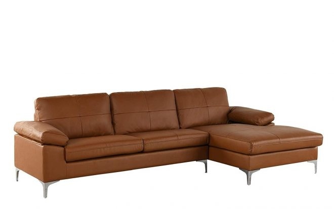 details about camel large leather sectional sofa l shape couch with chaise 1087 w inches