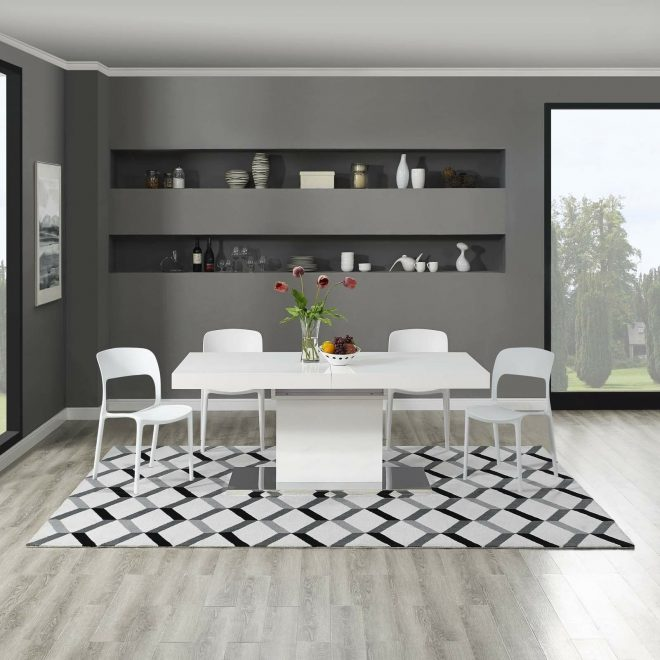 details about contemporary geometric chevron microfiber 8x10 area rug in black and white