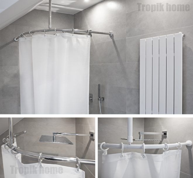 details about curved shower curtain rail pole rod with ceiling bracket and hooksvarious sizes