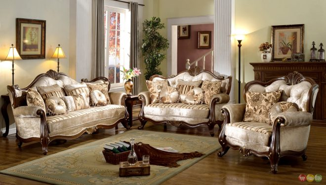 details about french provincial formal antique style 2pc sofa loveseat set in beige chenille