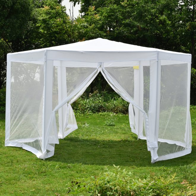 details about hexagonal patio gazebo outdoor canopy party tent event with mosquito net white