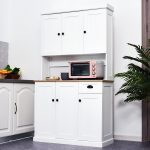 details about homcom 71 wood kitchen pantry storage cabinet microwave oven free standing
