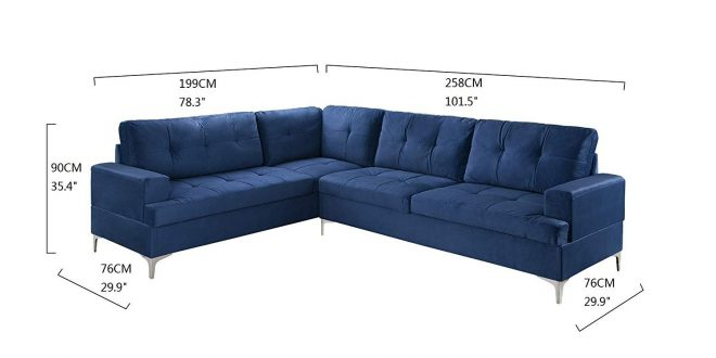 details about large family room tufted velvet sectional sofa modern l shape couch navy