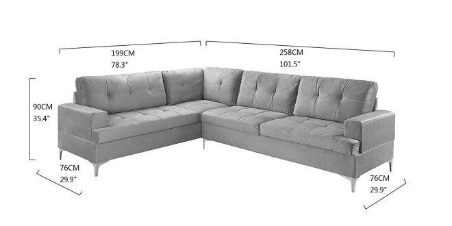 details about large tufted velvet sectional sofa modern living room l shape couch grey