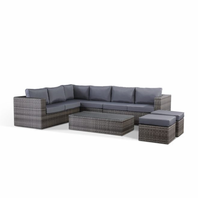 details about layla grey rattan garden furniture corner sofa with coffee table and 2 stools