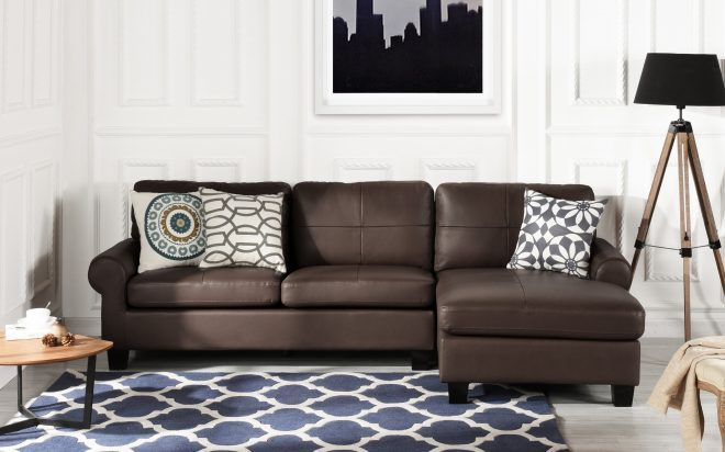 details about leather match dark brown sectional sofa l shape modern couch removable cushions