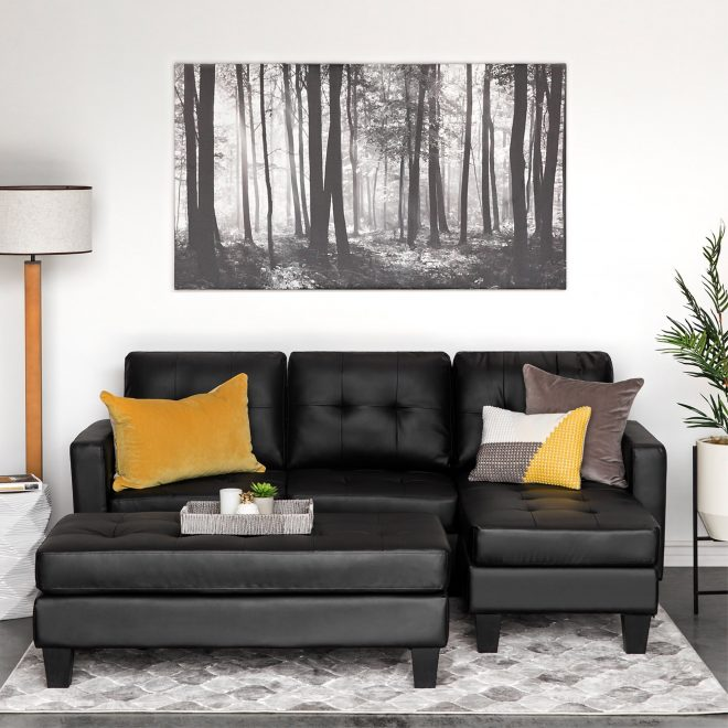details about leather small space black sectional sofa couch set 3 seater w chaise ottoman