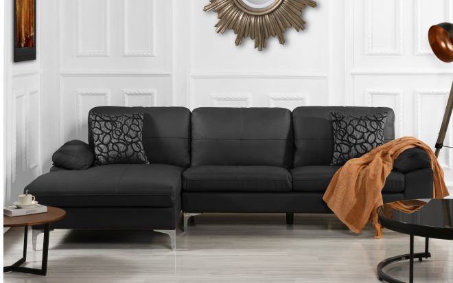 details about living room family room leather sectional sofa l shape couch left chaise black