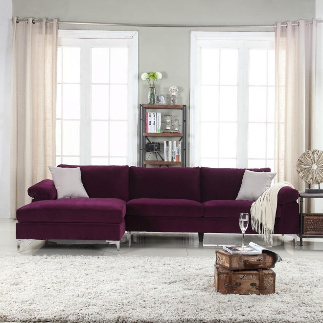 details about modern furniture large velvet sectional sofa extra wide chaise lounge purple
