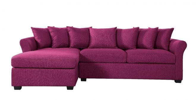 details about modern large linen sectional sofa with extra wide chaise purple