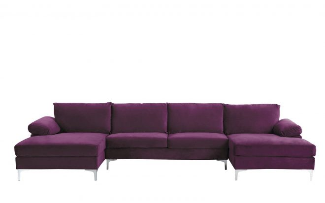 details about modern large purple velvet fabric u shape sectional sofa double wide chaise
