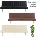 details about modern leather sleeper sofa bed convertible lounge couch living room guest futon