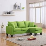 details about modern linen fabric small space sectional sofa with reversible chaise yellow