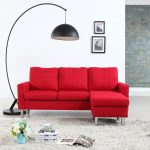 details about modern living reversible linen fabric sectional sofa small space red