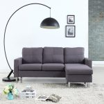 details about modern living room reversible linen fabric sectional sofa small space light grey