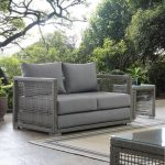 details about modern outdoor patio furniture wicker rattan cushioned loveseat in gray gray