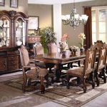 details about neo renaissance formal dining room set table 6 side 2 arm chairs china cabinet