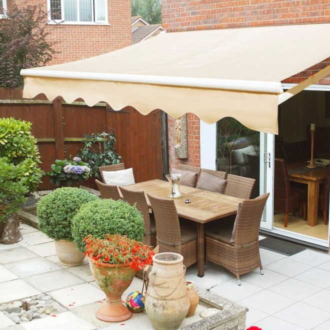 details about outdoor 8x 6 manual retractable patio deck awning sun shade shelter canopy tan