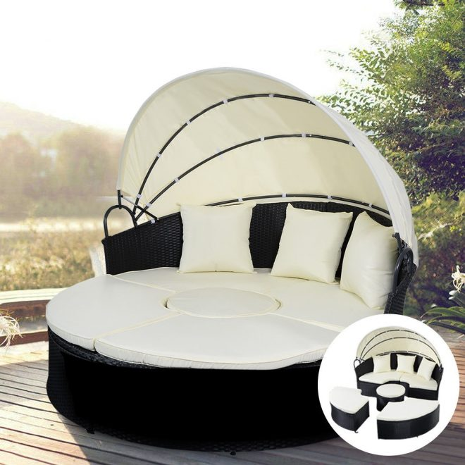 details about outdoor patio sofa furniture round retractable canopy daybed black wicker rattan