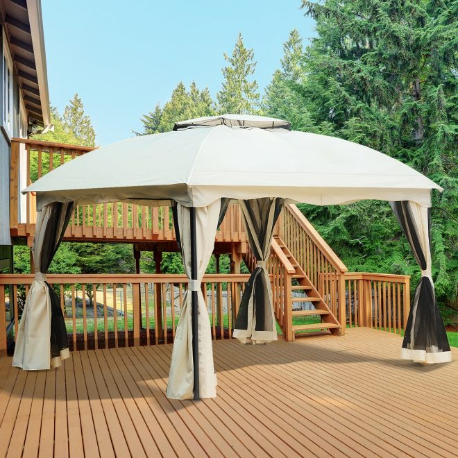 details about outsunny 10 x 12ft outdoor patio gazebo pavilion canopy tent steel 2 tier roof