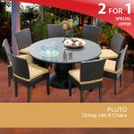 details about pluto 60 inch outdoor patio dining table with 8 chairs 2 for 1