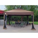 details about portable gazebo large canopy 12x12 steel frame instant brown folding with skirts