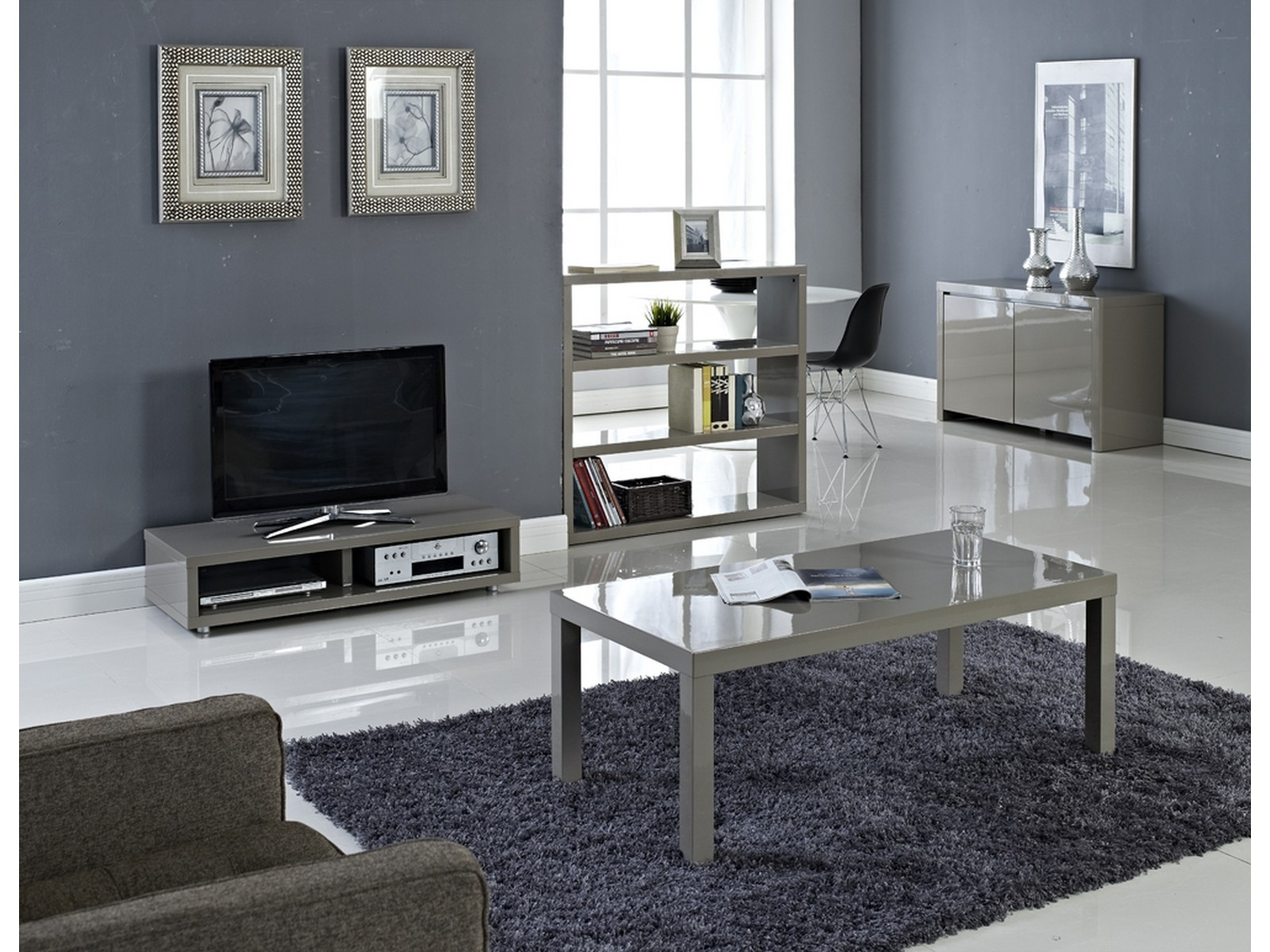 details about puro high gloss living room furniture tables storage tv stand stone cream