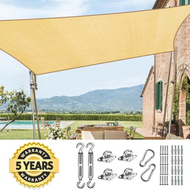details about quictent 26x20 rectangle sun shade sail patio sand with free hardware kit