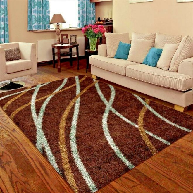 details about rugs area rugs shag rug carpet 5x7 brown living room modern large floor 5x8 rugs