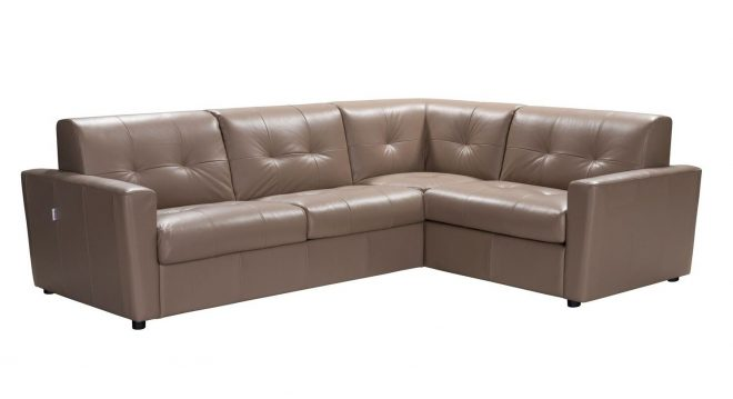 details about savino modern beige italian leather sectional sofa w sleeper in taupe brown