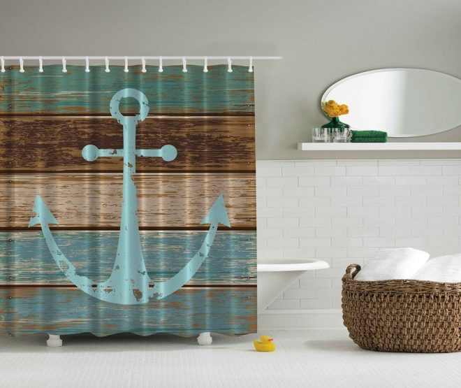 details about shower curtain nautical anchor rustic wood
