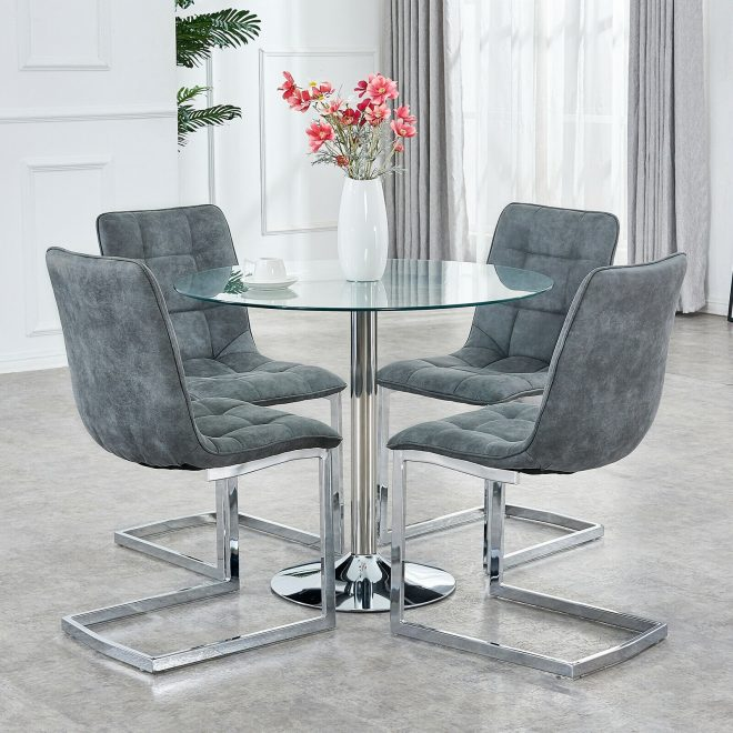 details about small clear round glass dining table sets and 4 chairs micofiber suede fabric