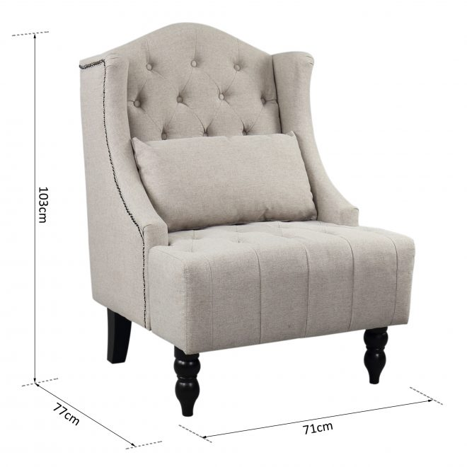 details about tall wing back tufted chair accent vintage club chair sofa chair nailhead grey