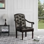details about traditional tufted faux leather upholstered dining chair grey