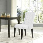 details about tufted upholstered faux leather parsons dining chair in white