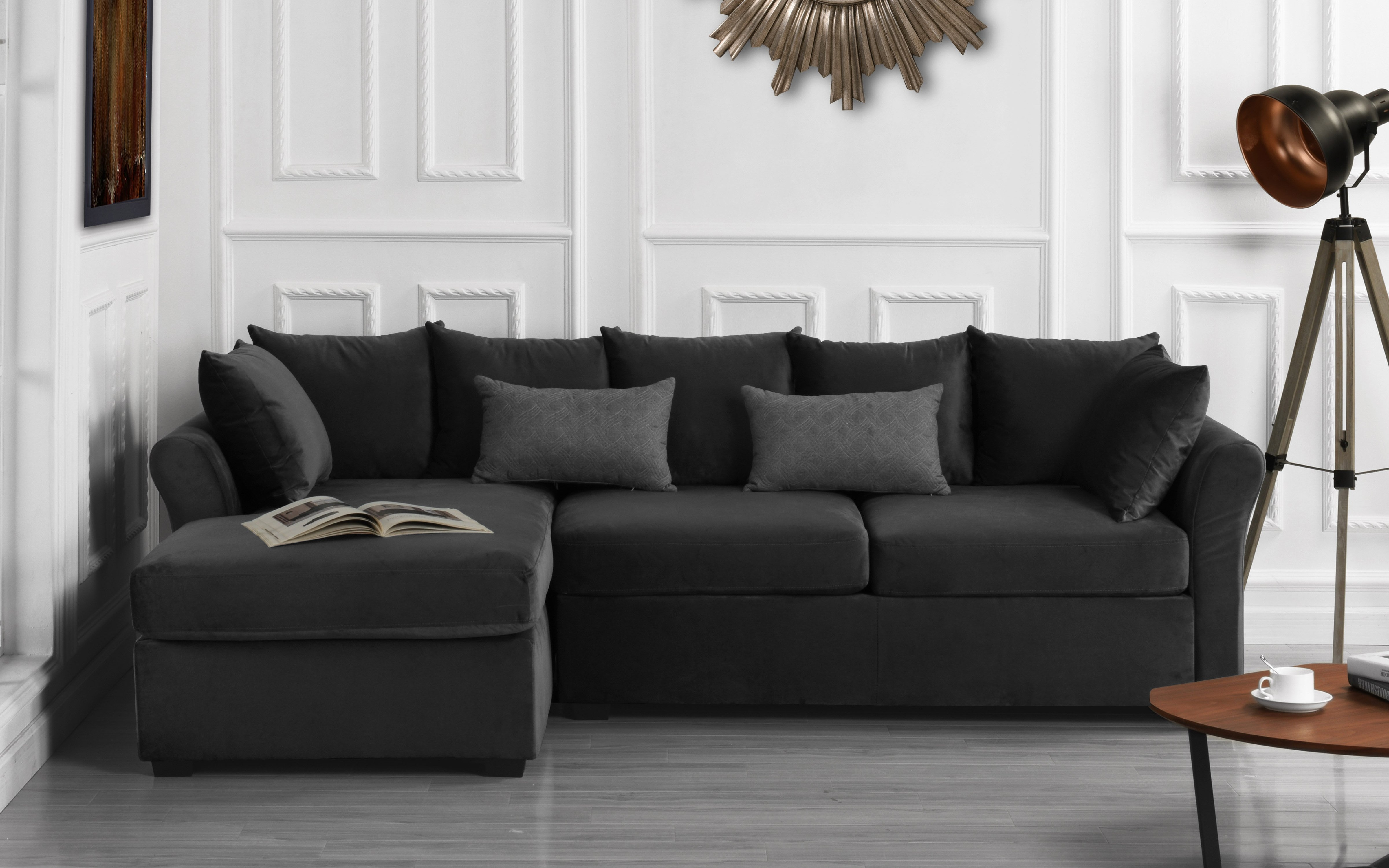 details about velvet sectional sofa w removable back pillows left facing chaise dark grey