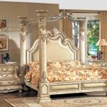details about victorian antique white luxury california king poster canopy bed 2 nightstands