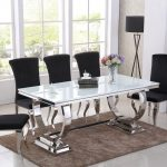 details about white glass with stainless steel dining table and 6 black chairs