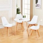 details about white round dining table and 4 dining chairs retro solid wood for small kitchen