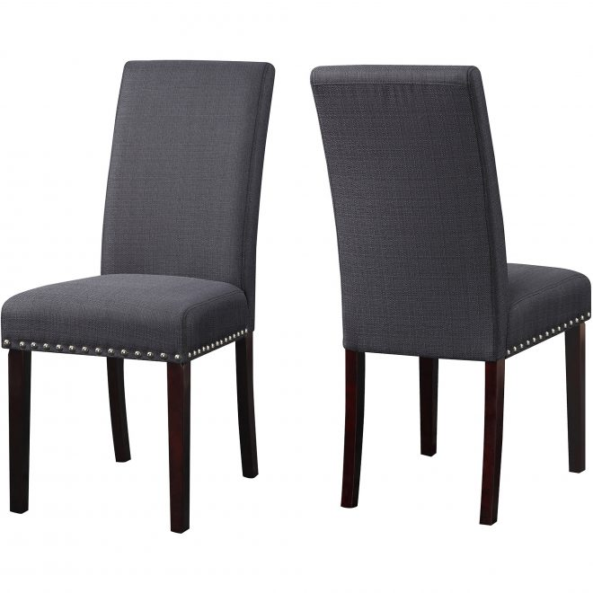 dhi nice nail head upholstered dining chair 2 pack multiple colors