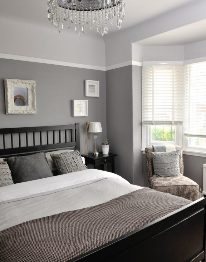 different tones of grey give this bedroom a unique and
