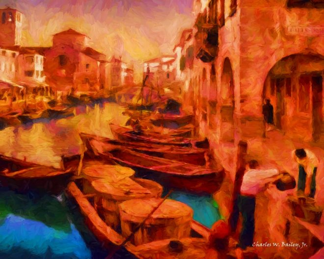 digital oil painting of a canal in chioggia italy char
