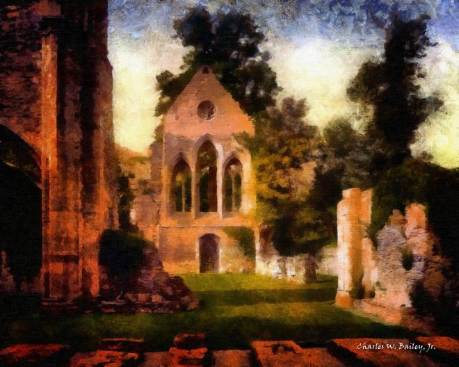 digital oil painting of the valle crucis abbey charles