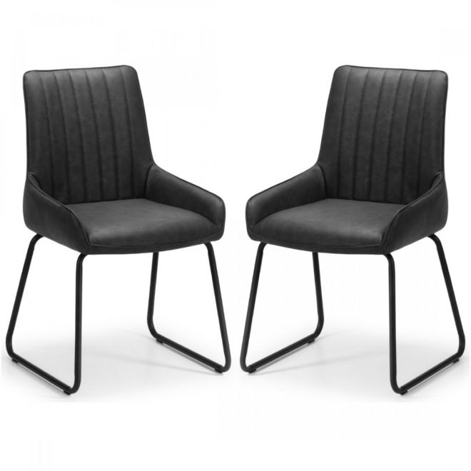 dining chair pair of soho black faux leather dining chairs soh102