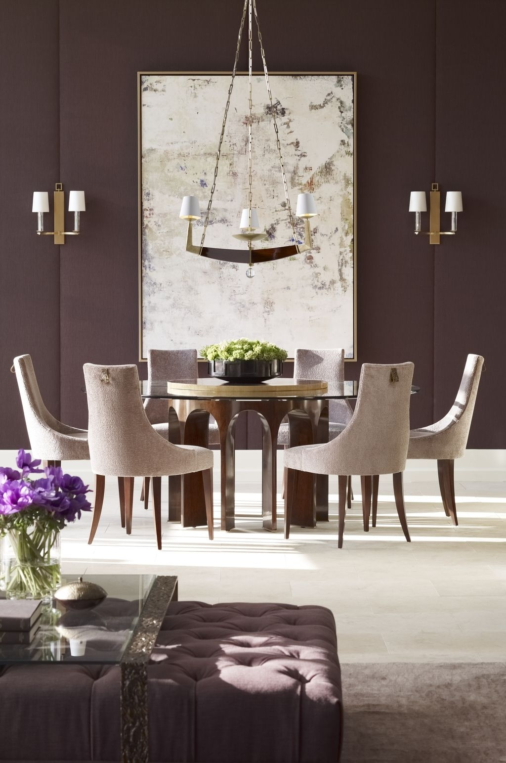 dining room dressed in amethyst with designer table chairs