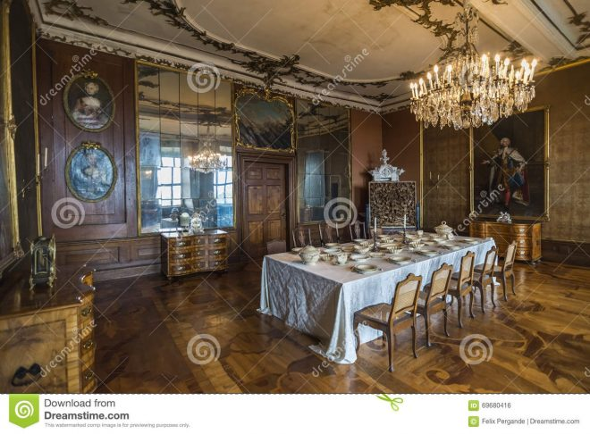 dining room in friedenstein castle editorial photo image