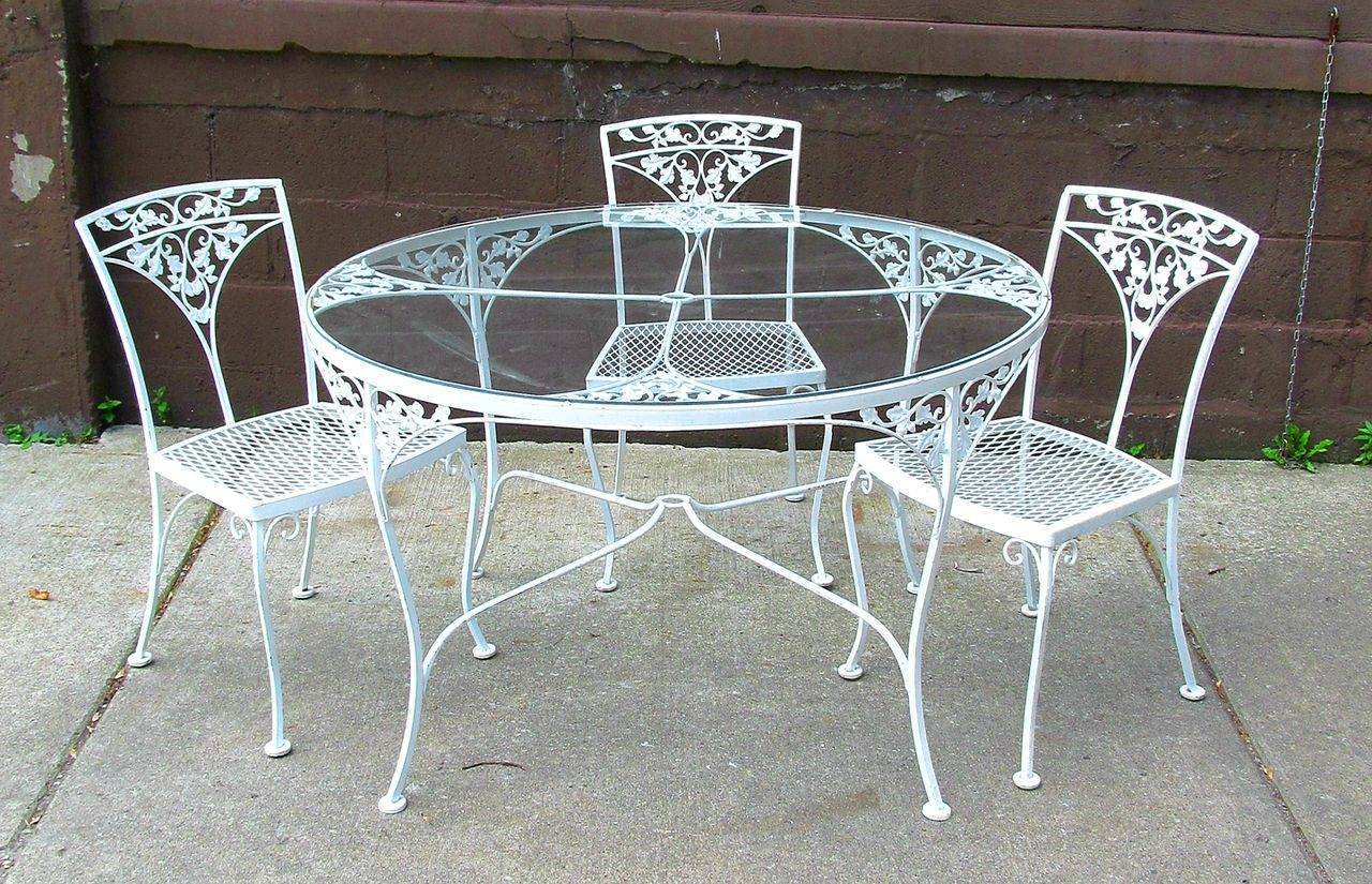 dining table fascinating round white wrought iron outdoor