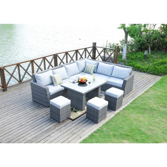 direct wicker lima variegated grey 8 piece wicker outdoor sectional set with grey cushions